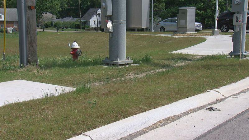 Massive power pole blocks connection of North Ridgeville sidewalk along Center Ridge Road...