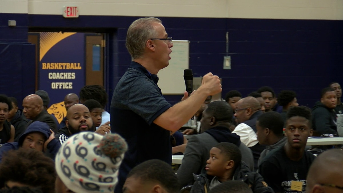 """Euclid football coach Jeff Rotsky speaks to players at the """"Success Looks Like Me"""" event at..."""