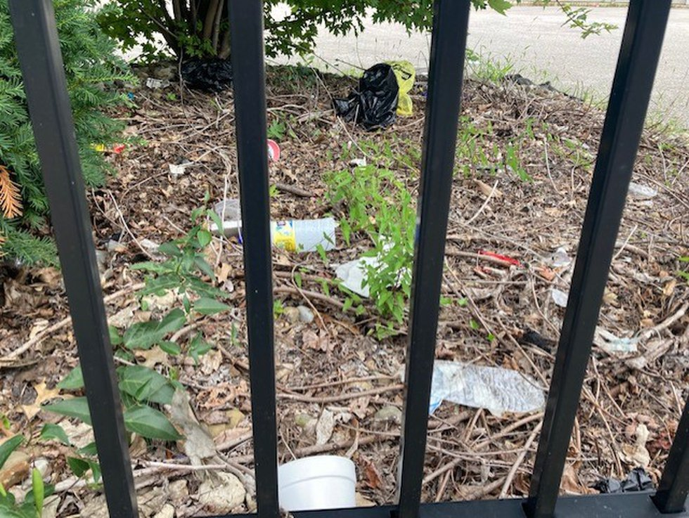 Trash on the property of Dollar General at St. Clair Ave & E. 157th St.
