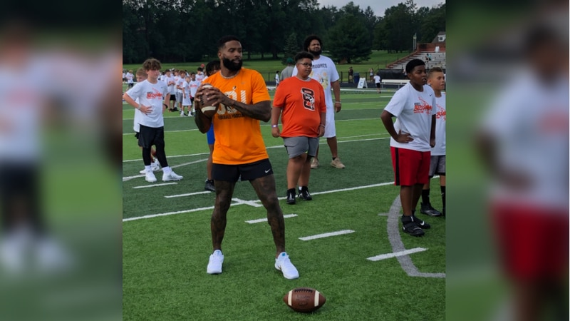 Kids learn from a pro at Odell Beckham Jr. football camp