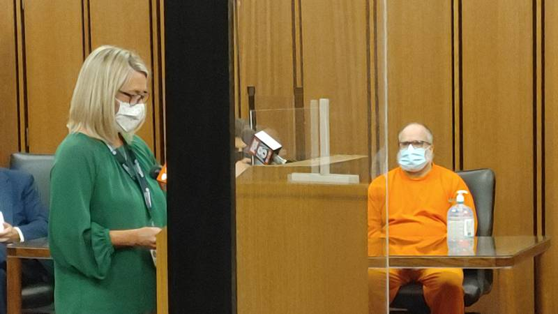 Taylor in court awaiting his sentencing