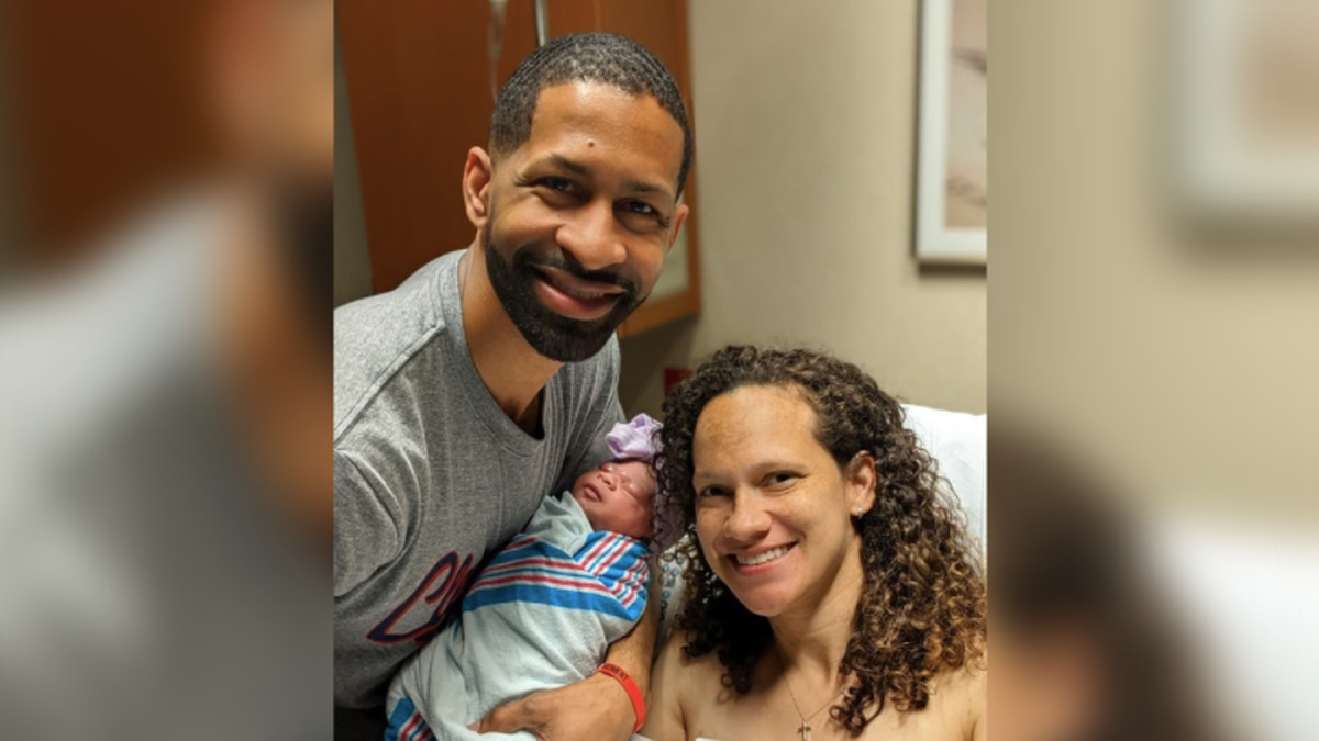 Eden Berry with her parents, Andrew and Brittan. Baby Berry was born on Day 1 of the NFL Draft.