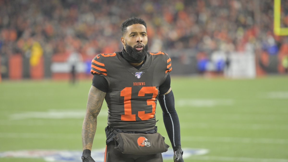 Cleveland Browns wide receiver Odell Beckham Jr. (13) celebrates in the second quarter of an...