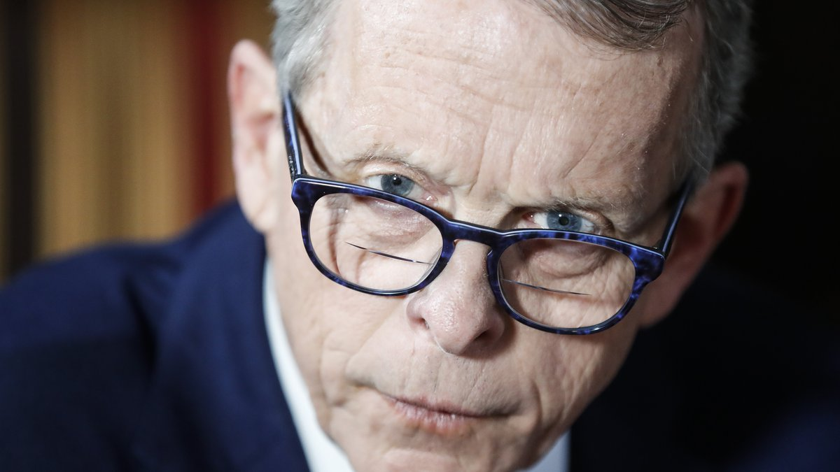 FILE - In this Dec. 13, 2019 file photo, Ohio Gov. Mike DeWine speaks about his plans for the...