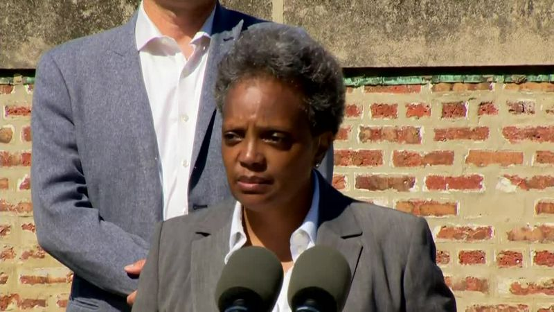 Chicago Mayor Lori Lightfoot addresses a mass shooting on city's South Side on Tuesday.