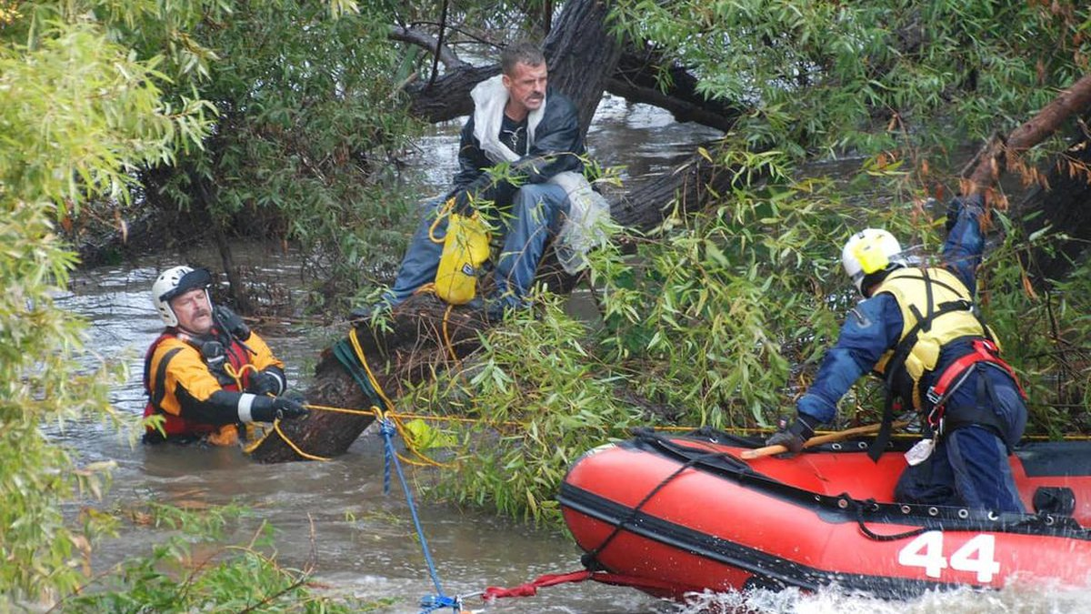 The Village of Clinton rescued a man from the Tuscarawas River Monday.
