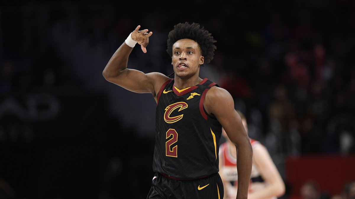 Cleveland Cavaliers guard Collin Sexton (2) reacts after he made a 3-point basket during the...
