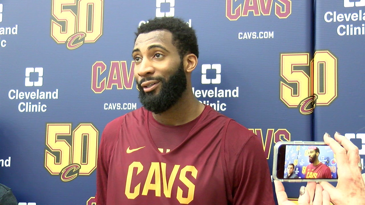 New Cavaliers center Andre Drummond answers questions after practice.