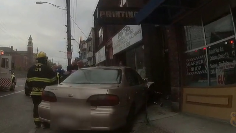 Police say the driver of the car hopped the curb and hit the victim who was walking down the...