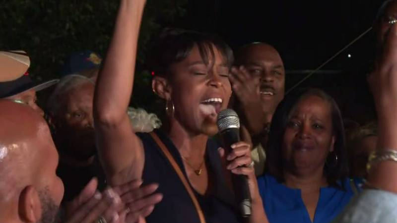 Shontel Brown speaks as election results come in for Ohio's 11th Congressional District...