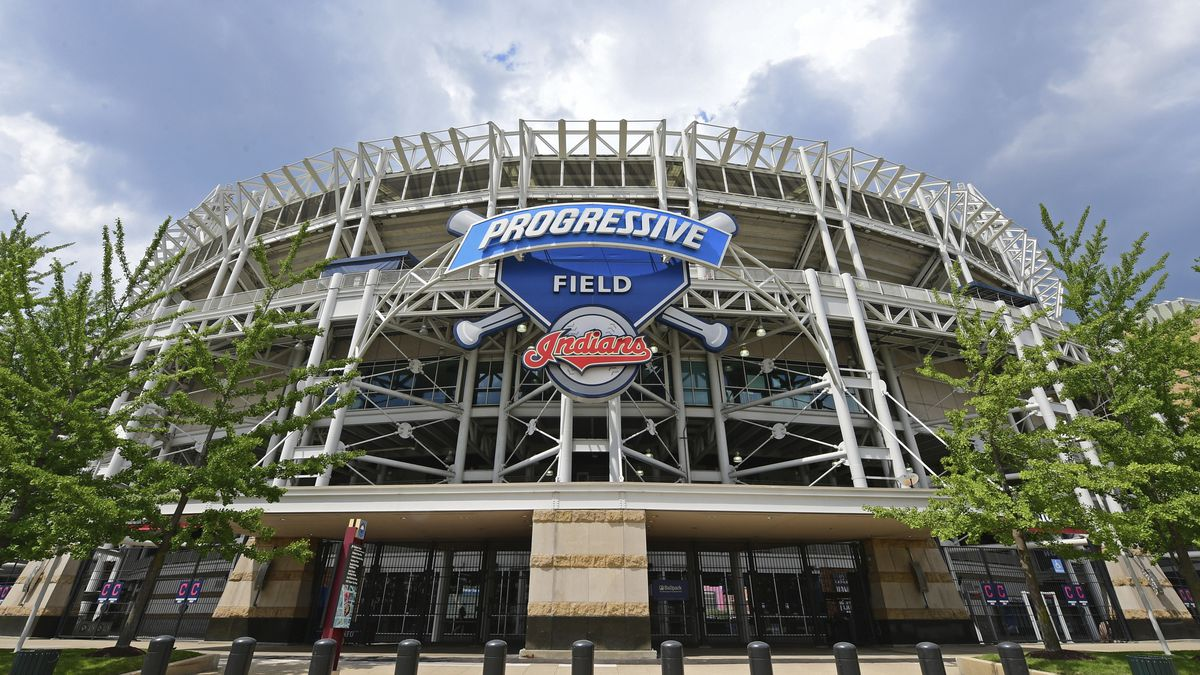 The exterior of Progressive Field before a baseball practice at Progressive Field, Friday, July...
