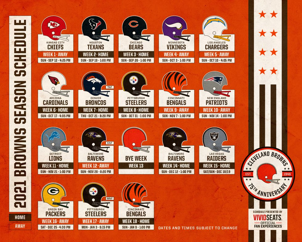 The Browns 2021 schedule has been released.