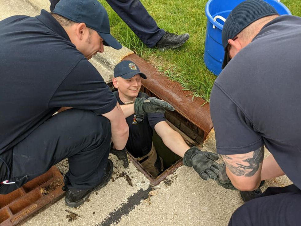 Broadview Heights firefighters save ducklings from sewer drain