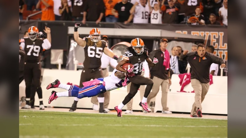 """The Browns sport a """"brown out"""" version in 2013 of their jersey on Thursday Night Football,..."""