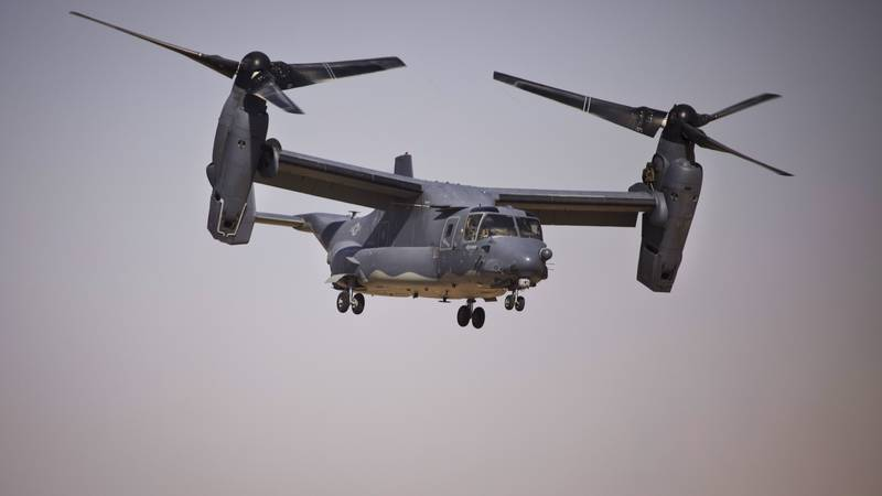 The V-22 Osprey weighs 33,000 pounds and can fly at more than 350 mph.