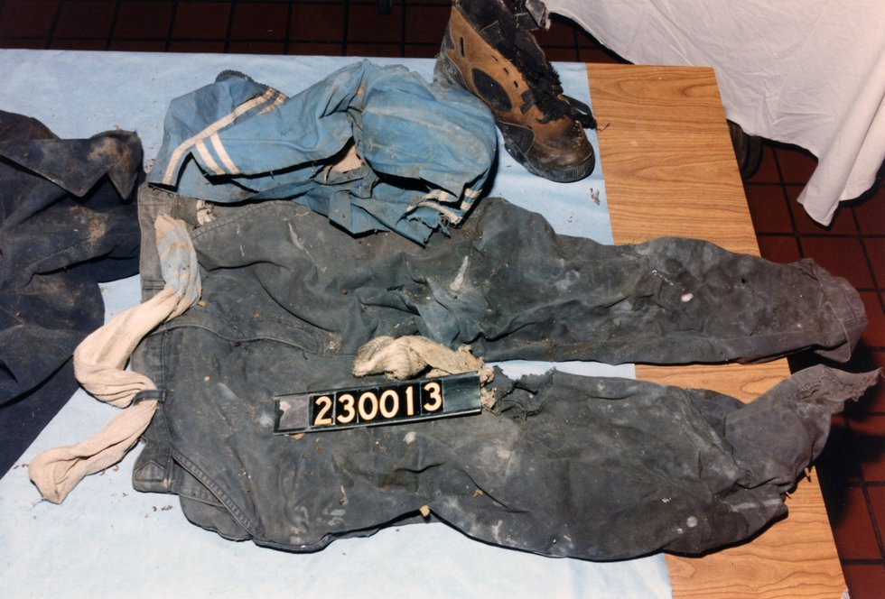 Clothing found with this man's remains.