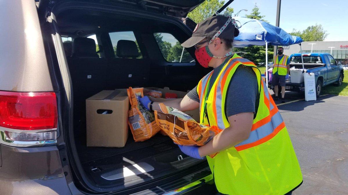 Lake County drive-thru food distribution in Mentor for seniors impacted by coronavirus crisis