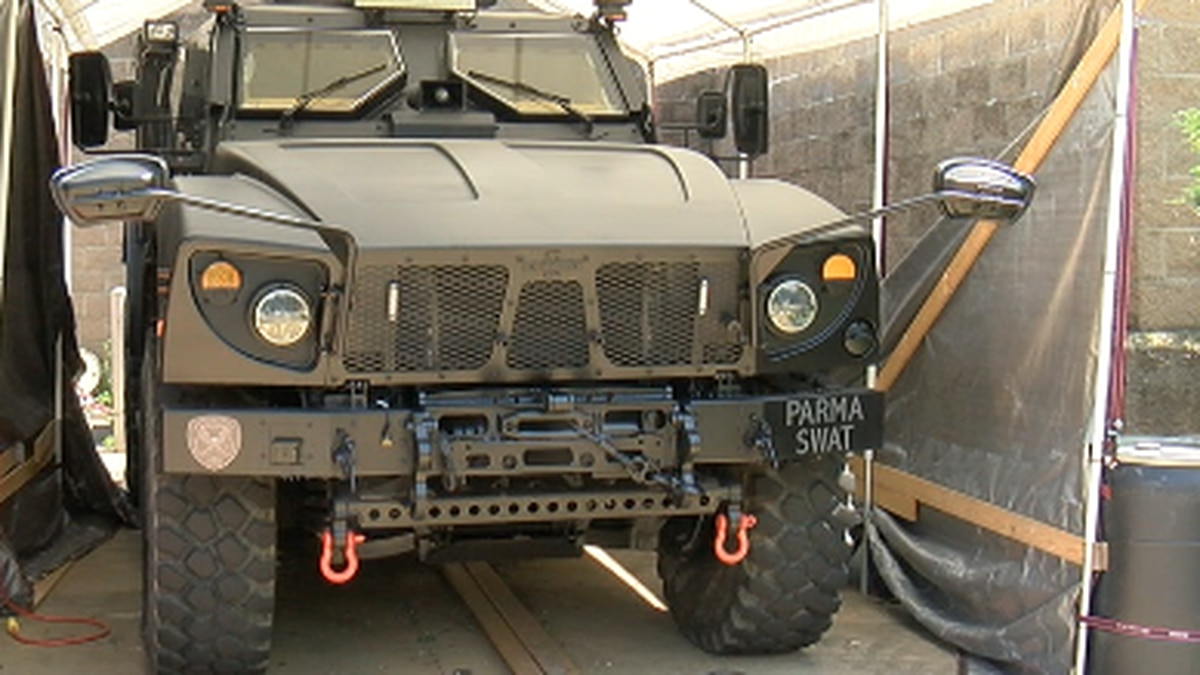 """In 2019, Parma Police applied for and received one of the """"mine resistant trucks"""" trucks built..."""