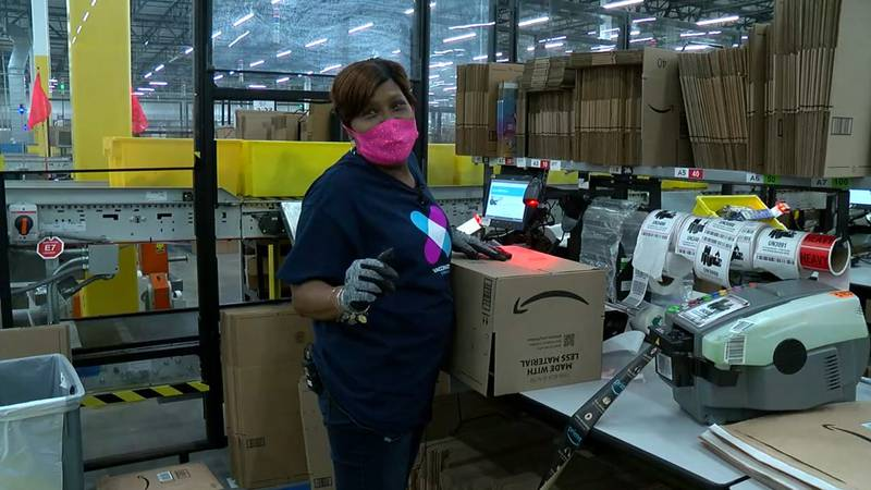 Arnita working at Euclid Amazon fulfillment center