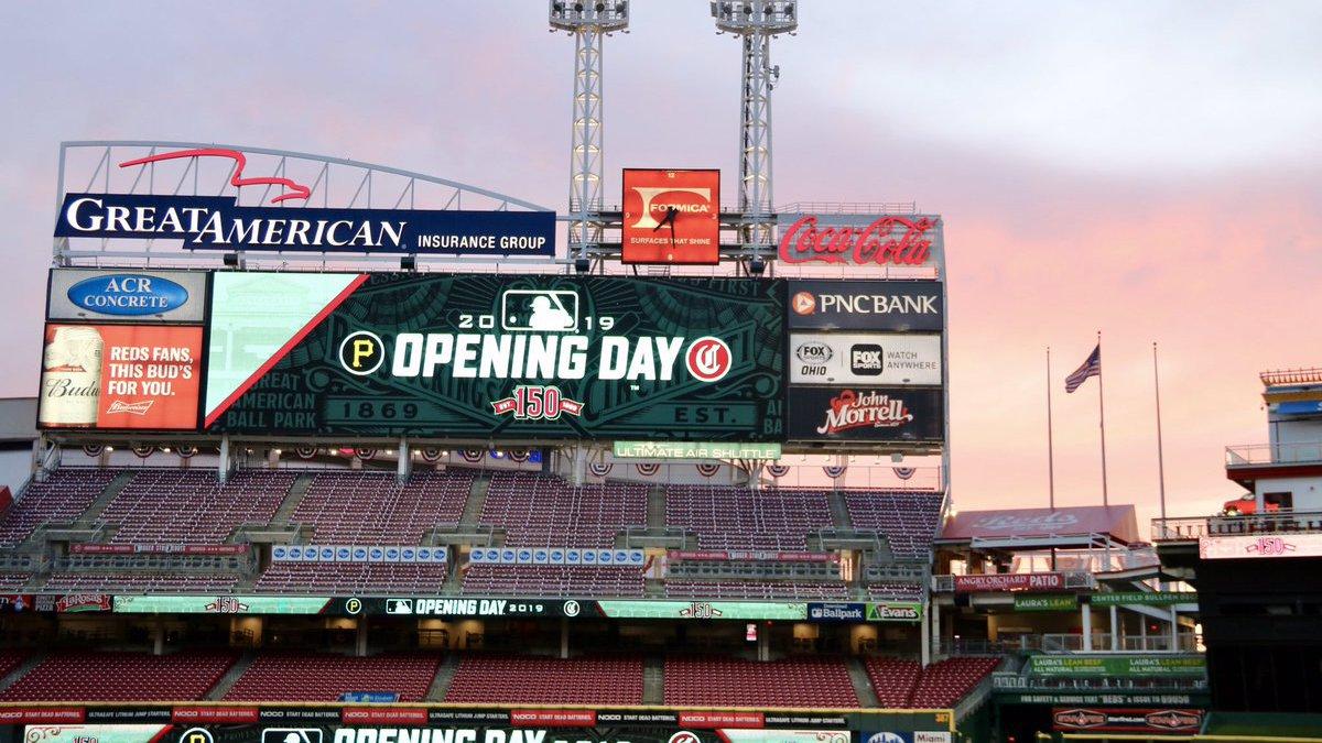 Sun rising on Great American Ballpark on Opening Day (Courtesy: Cincinnati Reds)