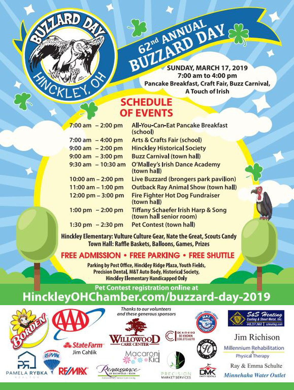 the 62nd annual Buzzard Day will be Sun. March 17 in Hinckley, Ohio.
