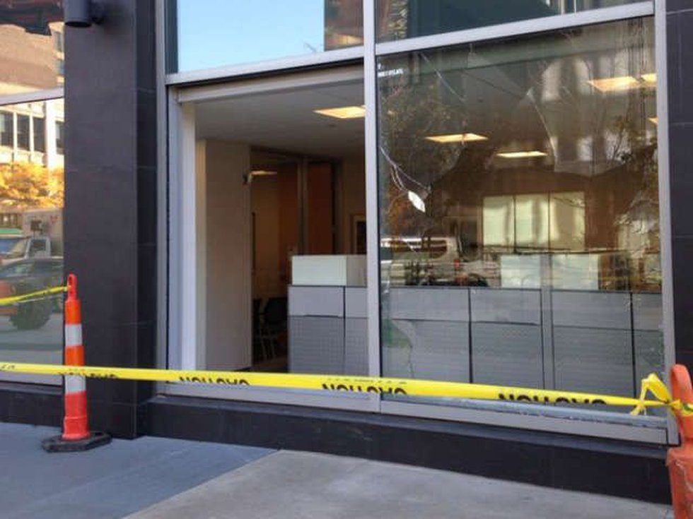 Third location of broken windows in downtown. This is at Cuyahoga County Admin building....