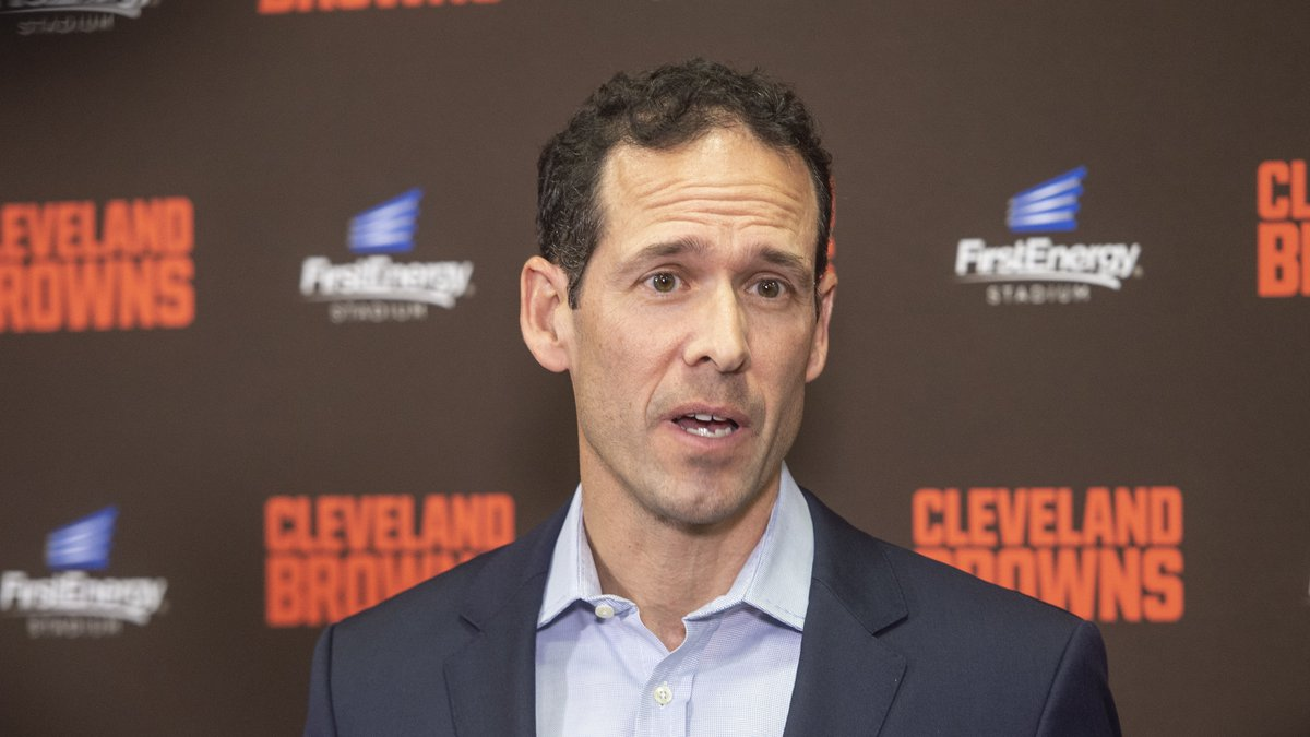 Paul DePodesta, chief strategy officer for the NFL football Cleveland Browns answers a question...
