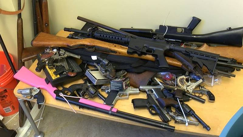 Guns collected from gun buyback event.