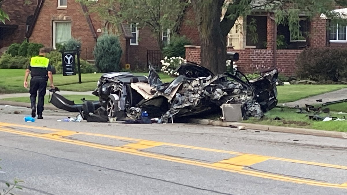 A vehicle was smashed to pieces after a crash on West 150th Street near the Lorain Road...