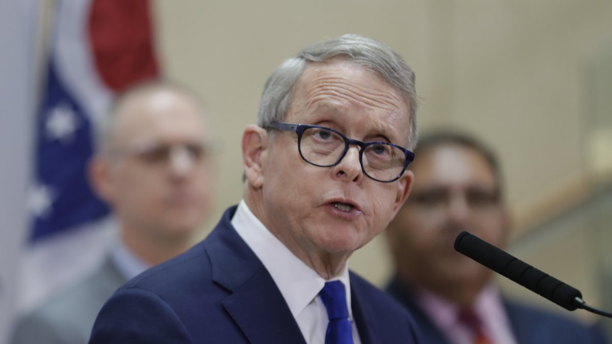Ohio Governor Mike DeWine gives an update at MetroHealth Medical Center on the state's...