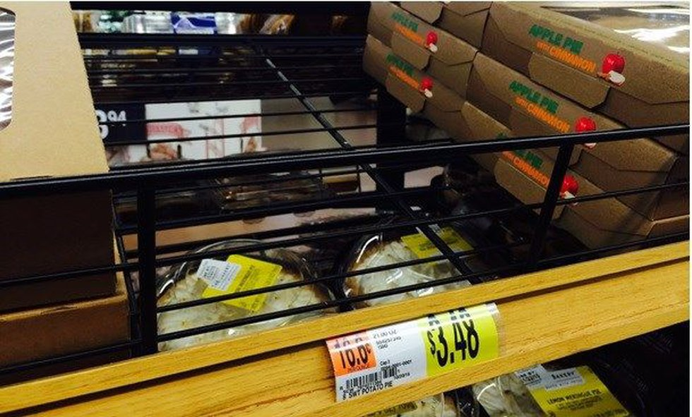 Store shelves at Walmart at Steelyard Commons are empty. (Source: WOIO)