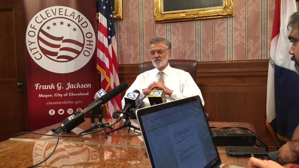 He held a telephone conference call with local media to discuss reopening Cleveland during...