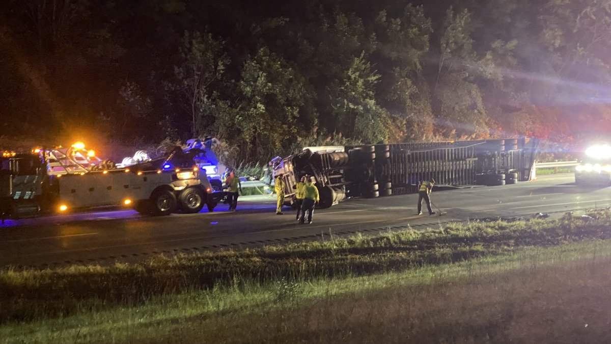 Semi rollover crash on I-90 WB in Willoughby