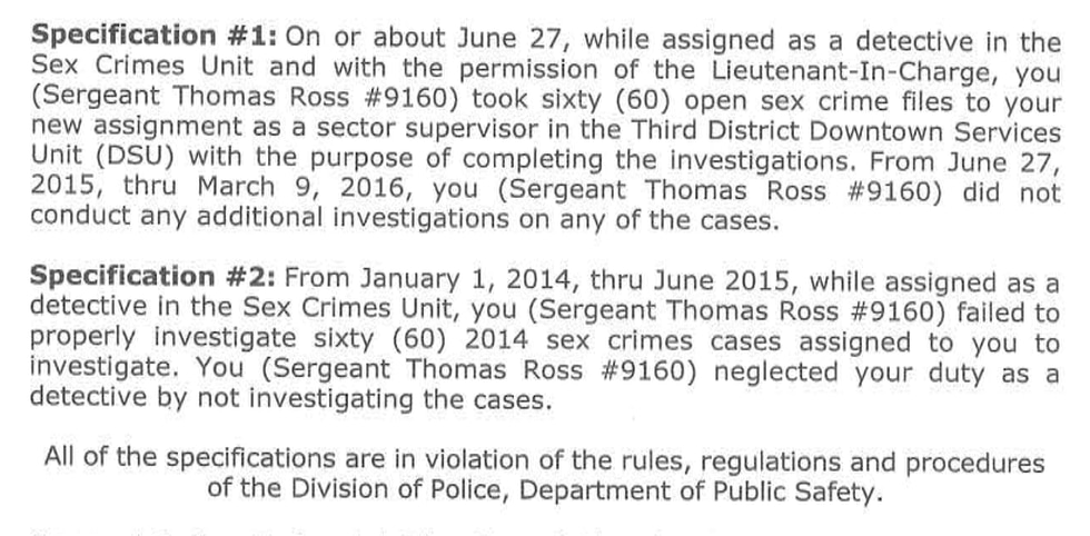 Portion of charge letter from CPD to then-Sergeant Tom Ross dated Feb. 26, 2018. Ross was...