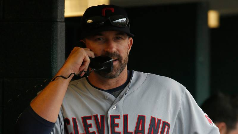 DETROIT, MI - JULY 19:  Pitching coach Mickey Callaway #32 of the Cleveland Indians talks on...