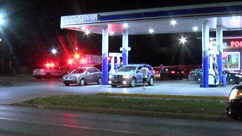 Medical crews took a man to the hospital after he was shot at the Marathon gas station on...