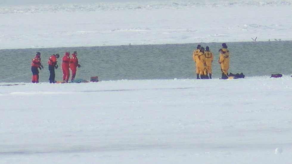 10 people were rescued Sunday after the Lake Erie ice floe they were walking on separated from...