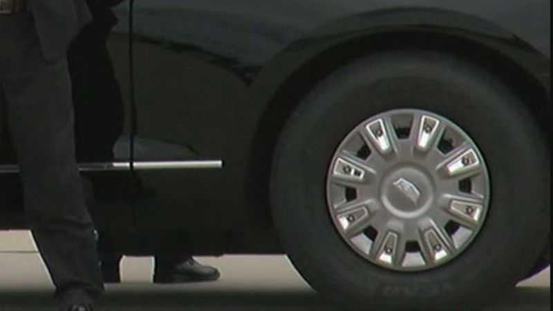 Goodyear Tire Co. tires are still on President Donald Trump's limousine while in Cleveland for...