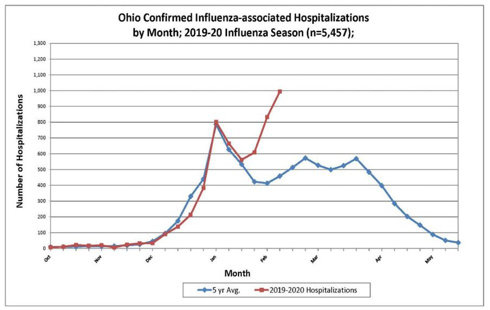This chart shows a second, more severe spike in the number of people hospitalized with the flu...