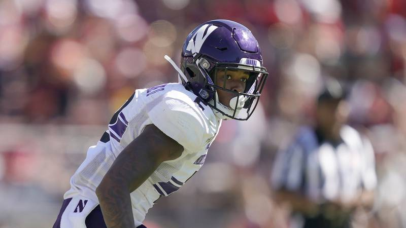 Northwestern defensive back Greg Newsome II (2) in action against Stanford during the second...