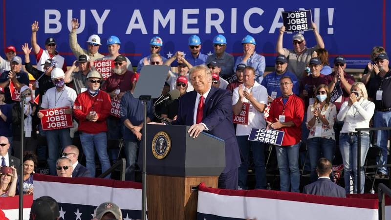 President Donald Trump speaks during a campaign rally at Dayton International Airport, Monday,...
