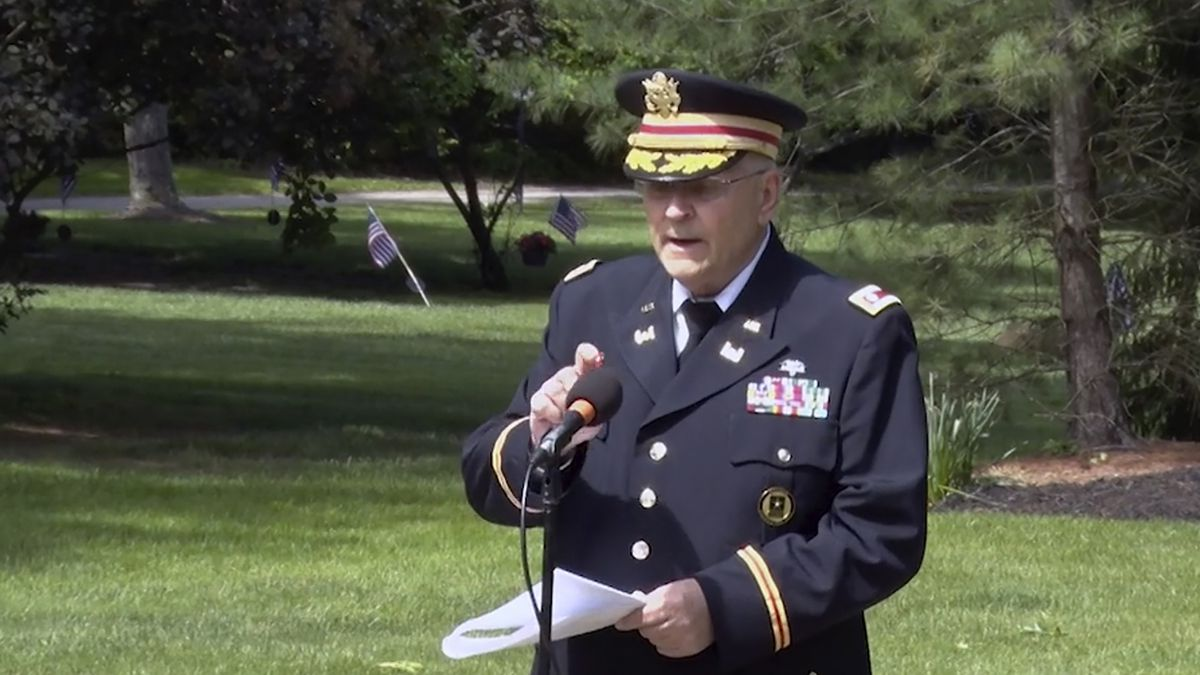 In this frame grab from video provided by Hudson Community Television, retired Army Lt. Col....