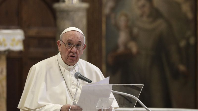 Pope Francis attends a inter-religious ceremony for peace in the Basilica of Santa Maria in...
