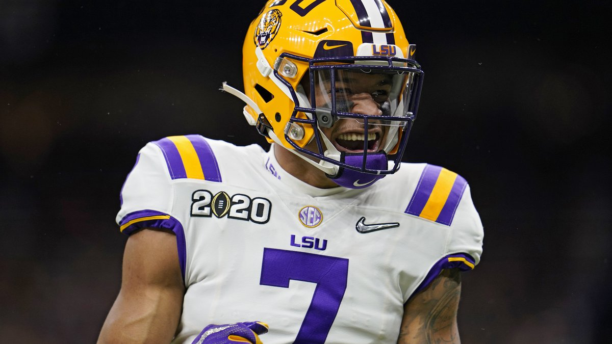 LSU safety Grant Delpit celebrates during the first half of a NCAA College Football Playoff...