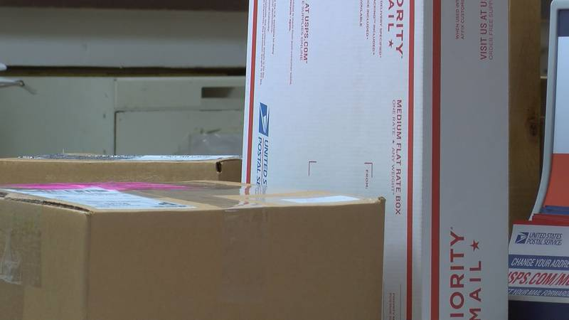 Packages waiting to be mailed (Source: WALB)