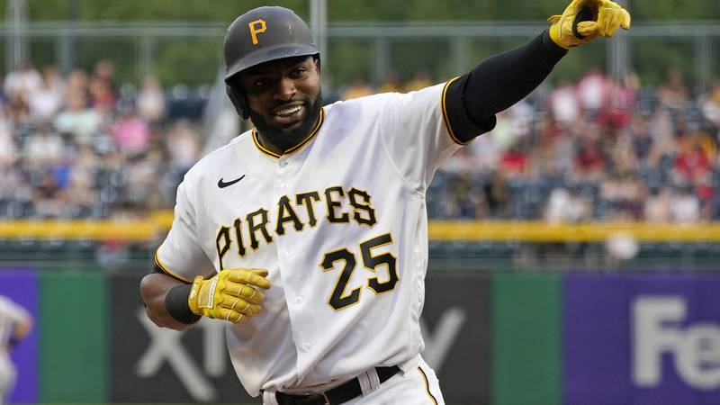Pittsburgh Pirates' Gregory Polanco celebrates after hitting a two-run home run off Cleveland...