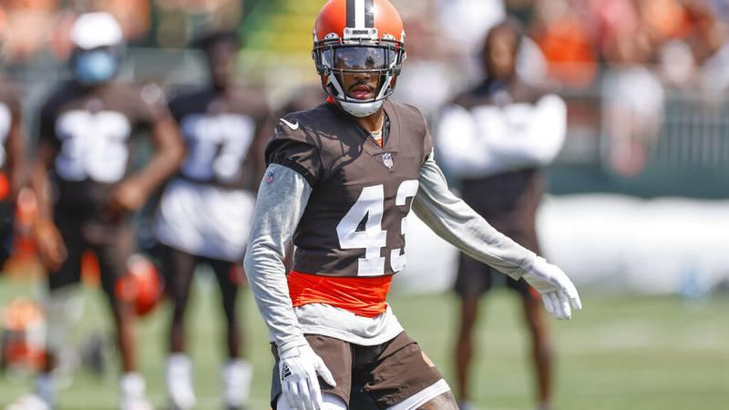 Cleveland Browns strong safety John Johnson runs through a drill during an NFL football...