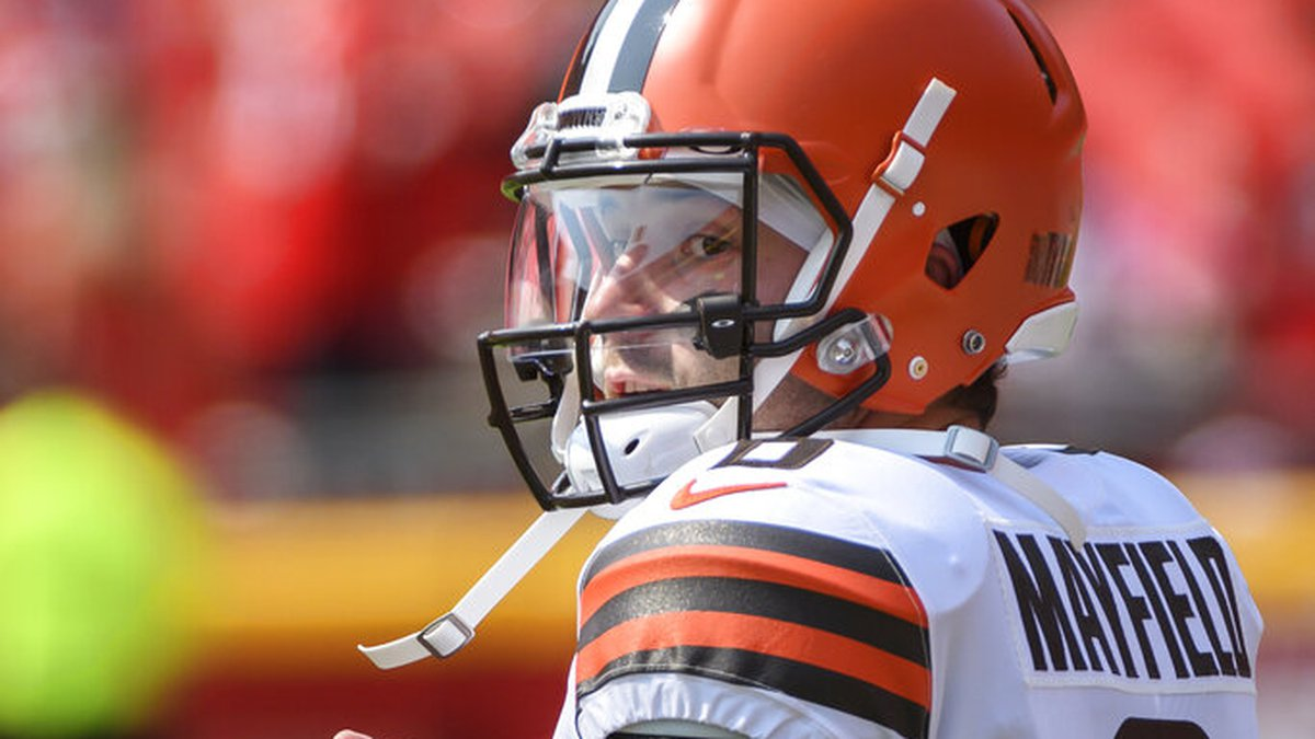 Cleveland Browns quarterback Baker Mayfield during pre-game warmups before an NFL football game...