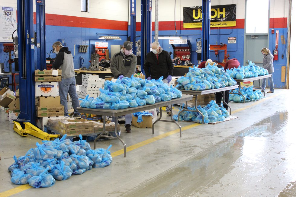 Bags of fresh food ready for distribution at Ashtabula County Career & Technical Center.