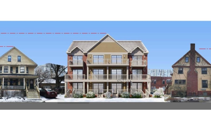 The three-story, 12-unit apartment will replace a backyard used as a food court for the Hessler...